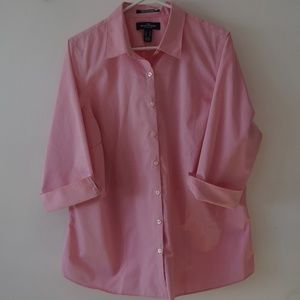 Lands End Pink Broad Cloth Button Front Top 18